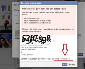 Prima di inserire il codice di verifica richiesto da facebook, selezionate COMUNICACELO (o faccelo sapere per le vecchie versioni di FB) che vi rimandera ad una seconda finestra. Seguite la prossima immagine.